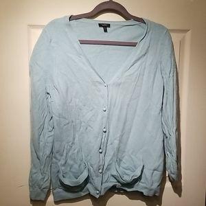 Talbots wool cardigan xl pool blue